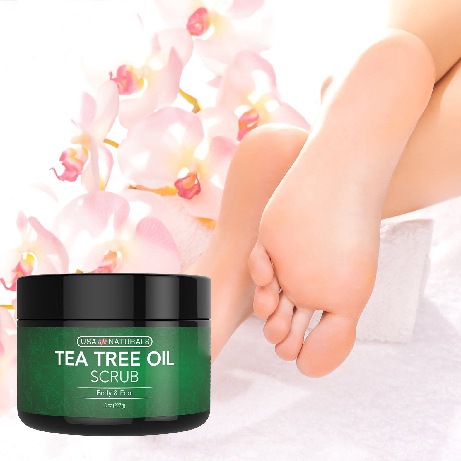 Tea Tree Oil Foot and Body Scrub - Antifungal Treatment - Exfoliating Scrub with a Unique Blend of Essential Oils - Smooths Calluses - Helps With Athlete's Foot, Acne, Jock Itch & Dead, Dry Skin by USA Naturals (Image #6)