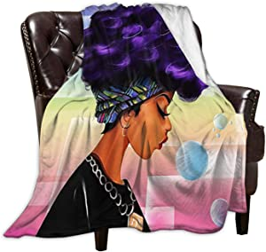 wiuhauhjj Flannel Fleece Throw Blanket Black Women Afro Word Art Natural Hair Super Soft Lightweight for Couch Sofa Throw, Office Lap, Travel Camping 40X60inch