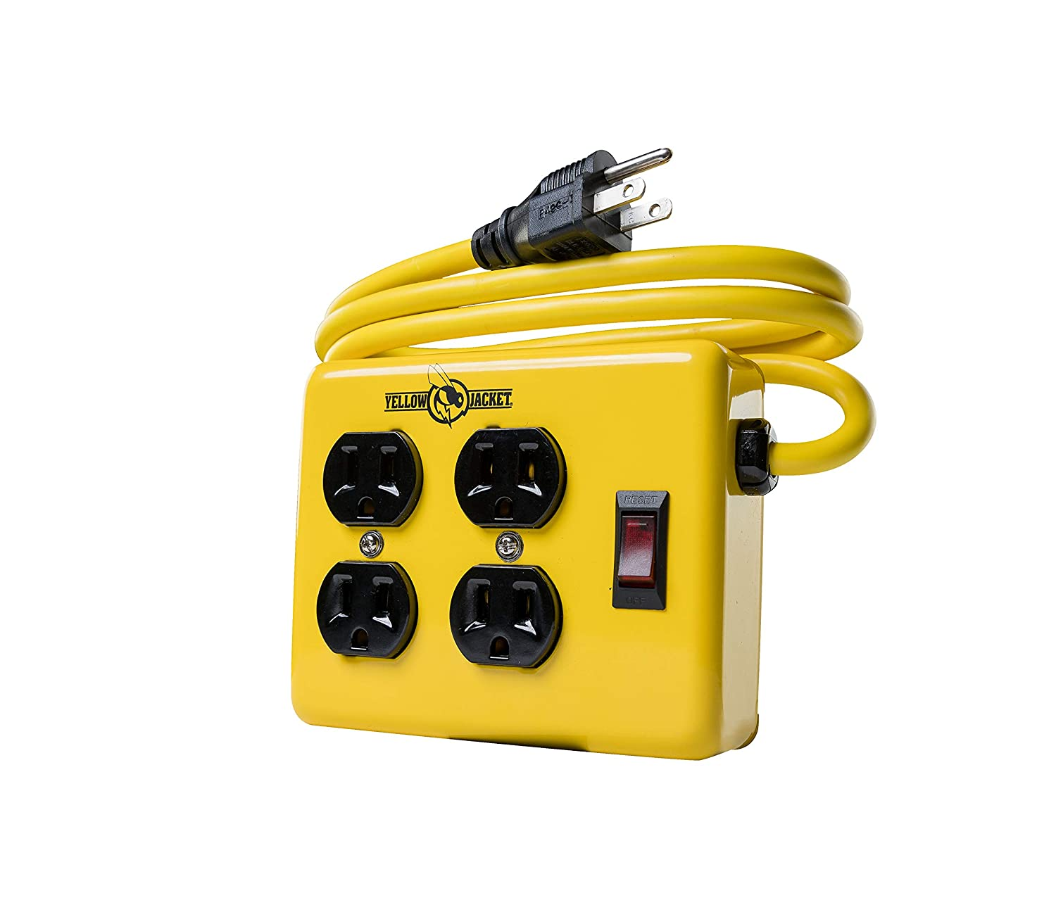 Yellow Jacket 2177N Metal Power Supply Adapter Block with 4 Outlets And Lighted Switch, 4-foot Cord