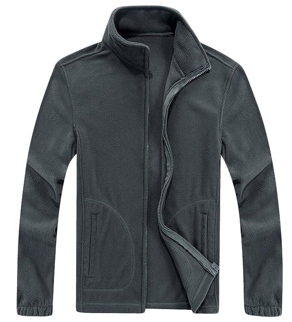 Rrive Mens Winter Slim Fit Full Zipper Stand Collar Fleece Jacket Coat