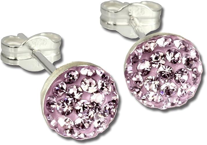 Ohrstecker Halbkugel rosa 925er Glitzer Kristalle GSO217A von SILBERDREAM