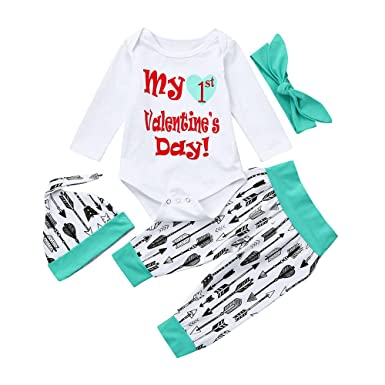 054720475 Amazon.com  Happy Valentine s Day Clothes Outfit Set Baby Boy Girl ...