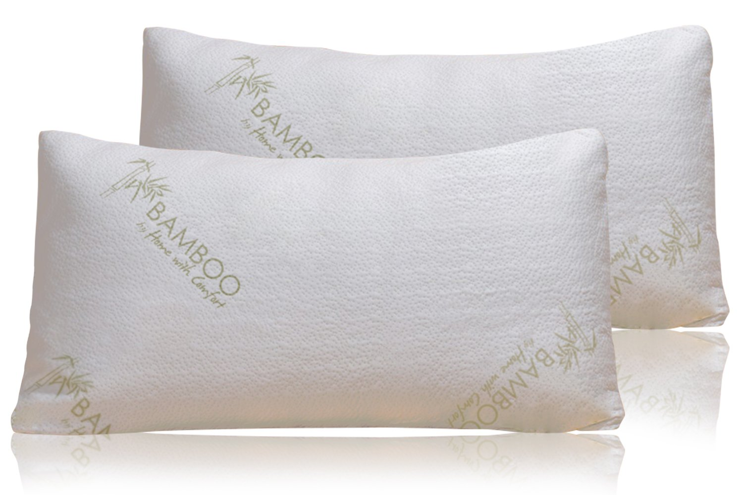 Bamboo Pillow Shredded Memory Foam Stay Cool Removable Cover With Zipper Hotel Quality Hypoallergenic Pillow Relieves Snoring, Insomnia, Neck Pain, TMJ, and Migraines (Queen) by Home With Comfort B017ODOJMU クイーン クイーン