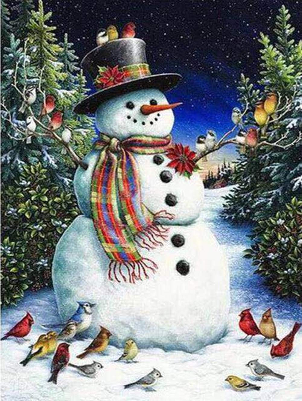 Aimilaly DIY 5D Diamond Painting by Number Kit Full Drill Christmas Snowman Rhinestone Embroidery Cross Stitch Supply Arts Craft Canvas Wall Decor