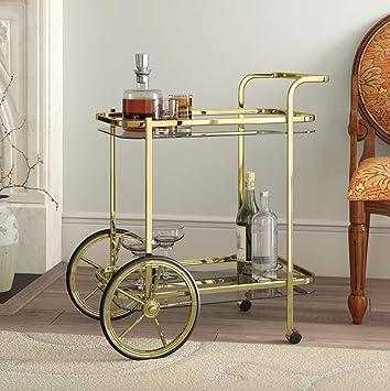 Vintage Tea Trolley Side End Furniture Metal Gold Bar Shelves Glass Serving Drinks Storage Coffee Table Bottle Holder 2 Tier Shelving Rolling Wheels