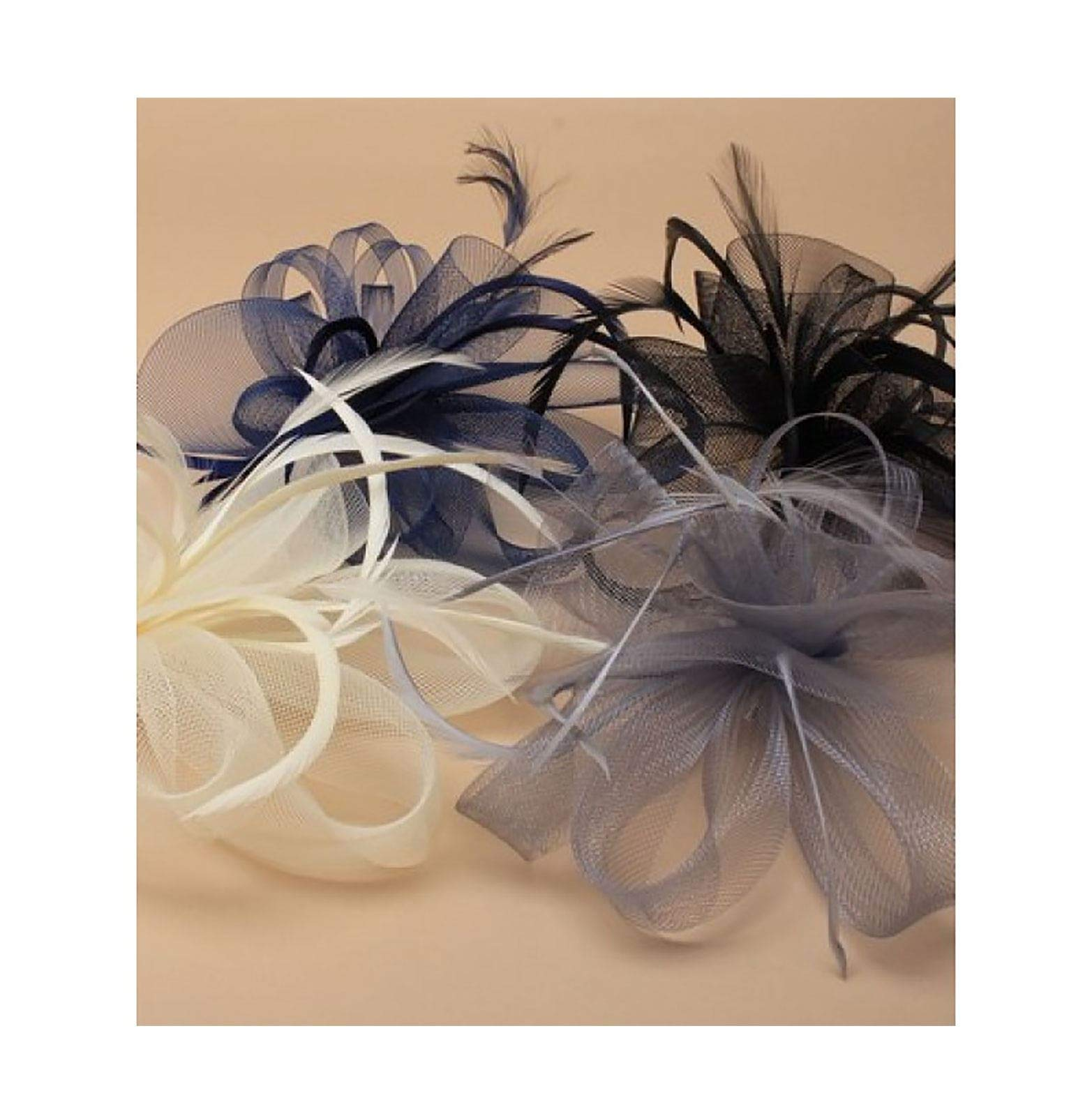 Rimi Hanger Assorted Loop Net Matching Feather Fascinator Clip Wedding Party Brooch Pin 4Pcs