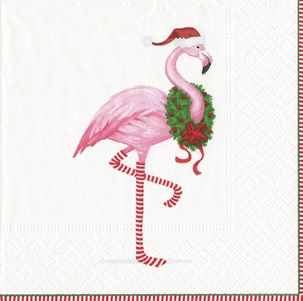 Entertaining with Caspari Christmas Flamingo Cocktail Napkins (Box of 40), White