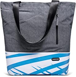 Rareform Women's Classic Tote Padded Interior Snap Closure (Blue White Stripes)