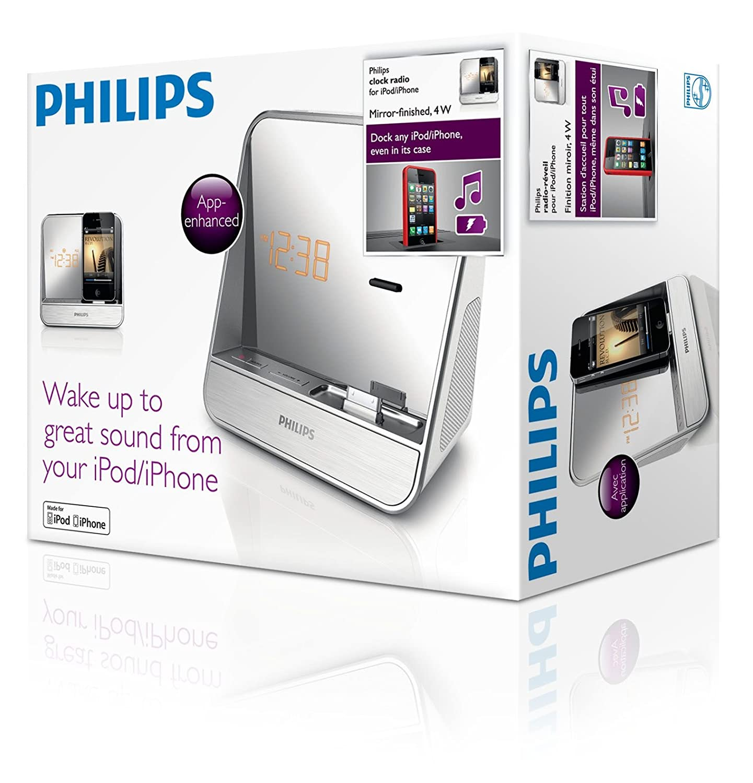 Philips AJ5300D/12 - Radiodespertador con puerto dock para Apple iPod/iPhone, plata