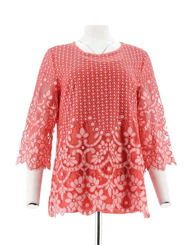 d9afa69f8fa Isaac Mizrahi 3/4 SLV Bi-Color Lace Tunic A301938 at Amazon Women's  Clothing store: