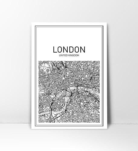 Map Print Art London City Wall