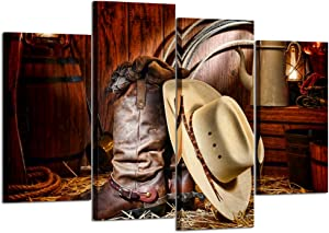 Kreative Arts - 4 Pieces Canvas Prints Wall Art American West Rodeo Cowboy White Straw Hat on Leather Rancher Roper Boots Vintage Style Stretched Gallery Canvas Wrap Giclee Print Ready to Hang
