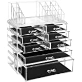 SONGMICS Acrylic Makeup Organiser, Makeup Box, 3 Pieces Set, Cosmetic Organiser with 8 Drawers and Black Pads, for Lipsticks, Jewellery and Other Makeup Utensils, Transparent JKA016TP