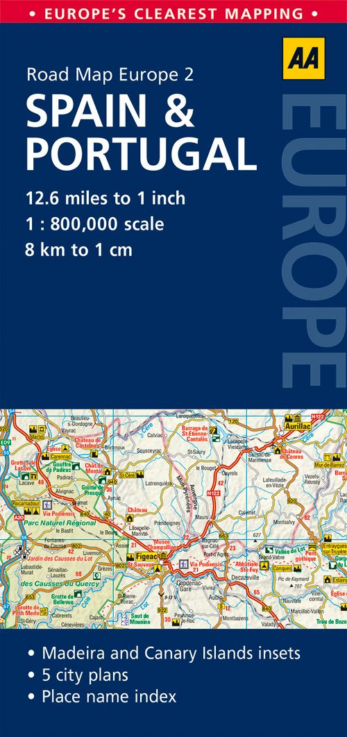 Road Map Spain Portugal Road Map Europe AA Publishing - Michelin map portugal 733