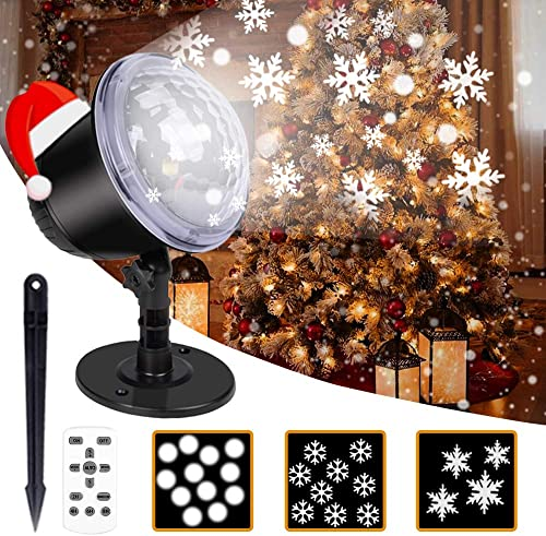 Christmas Projector Lights- Snowflake Projector Light, Projector Lights for Bedroom, Snowfall LED Lights, Remote Timer, IP65, Outdoor Landscape Decorative Lighting for Home Wedding Party Garden