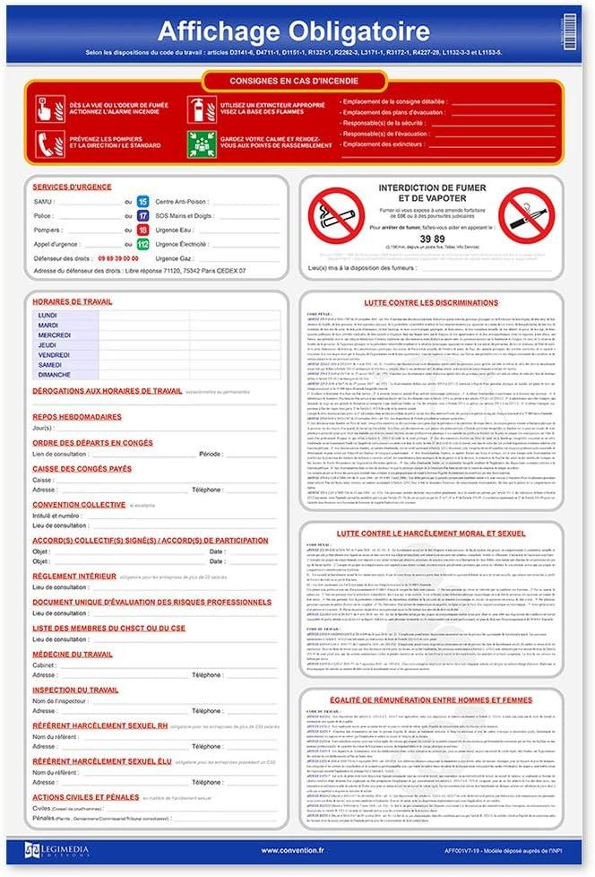 Pack affichages obligatoires convention collective accords nationaux registres Conformit/é entreprise 2019 : B/âtiment Travaux Publics
