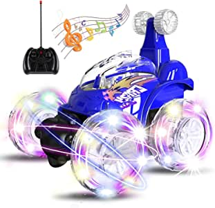 UTTORA Remote Control Car, Invincible Tornado Twister Remote Control Truck,360 Degree Spinning Flips Color Flash & Music Kids