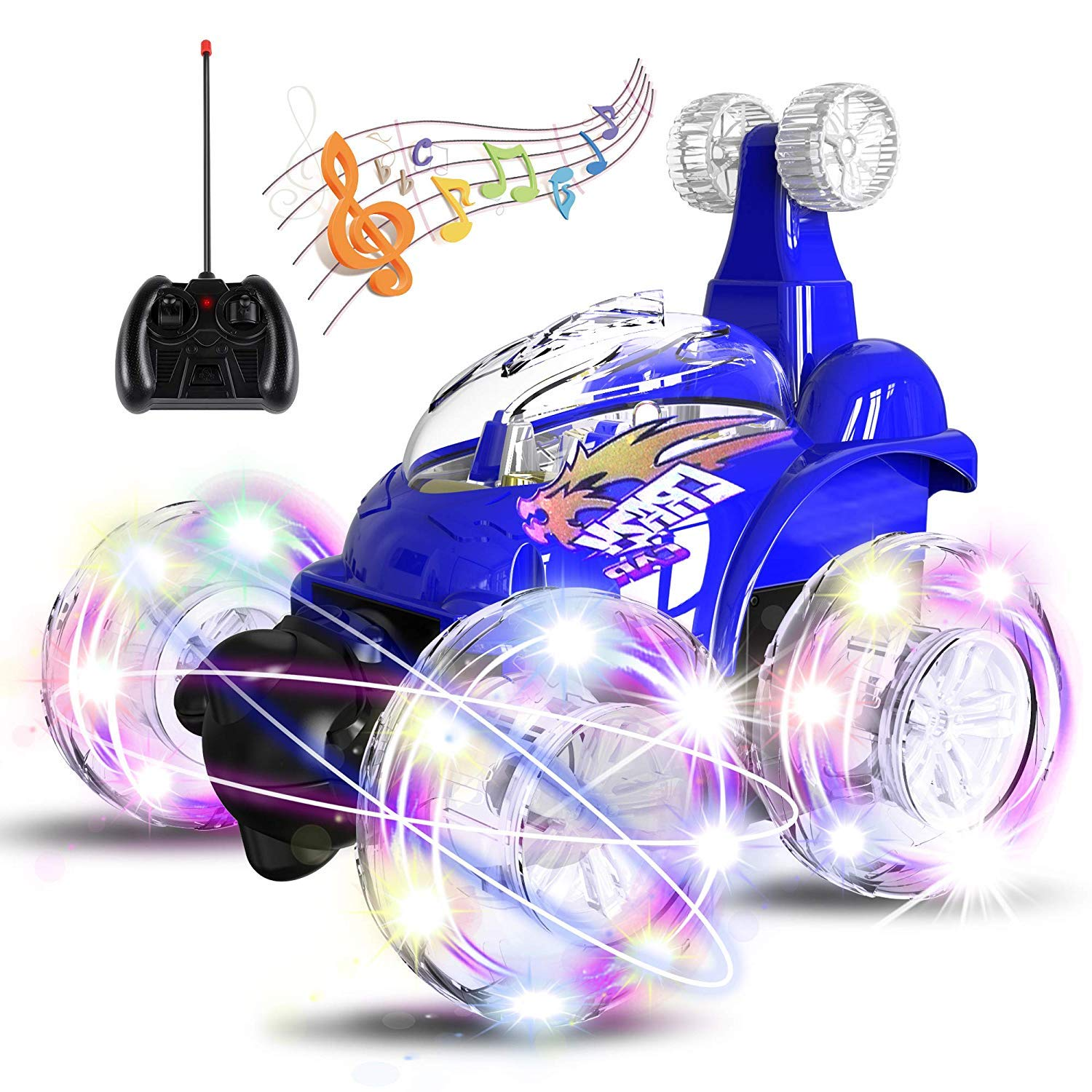 UTTORA Remote Control Car, RC Stunt Car Invincible Tornado Twister Remote Control Rechargeable Vehicle with Colorful Lights & Music Switch for Kids (Blue)