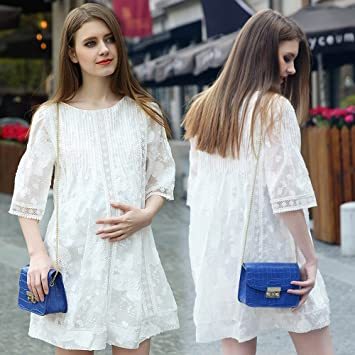 ZH Vestido de maternidad vestido de verano, viento occidental verano mujeres embarazadas, vestido de