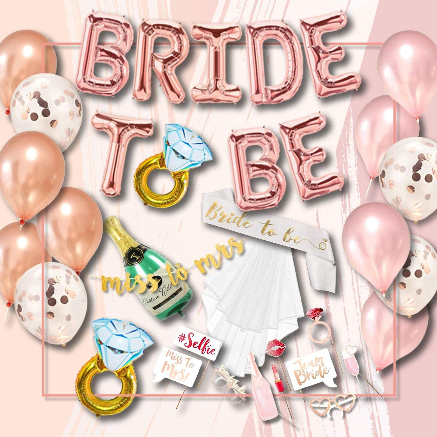 Bachelorette Party Decorations Kit Bridal, Shower Supplies Decor, Bride to Be Sash, Veil, Champagne, Ring, Pink Rose Confetti Gold Balloons, Gold Glitter Miss to Mrs Banner, Photo Props