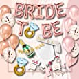 S2 Shoppe Bachelorette Party Decorations Kit   Bridal Shower   Bride to Be Sash, Veil, Champagne, Ring Foil Balloon, Rose Pearl Confetti Gold Balloons, Gold Glitter Miss to Mrs Banner   Photo Props