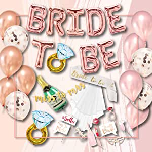 S2 Shoppe Bachelorette Party Decorations Kit | Bridal Shower | Bride to Be Sash, Veil, Champagne, Ring Foil Balloon, Rose Pearl Confetti Gold Balloons, Gold Glitter Miss to Mrs Banner | Photo Props