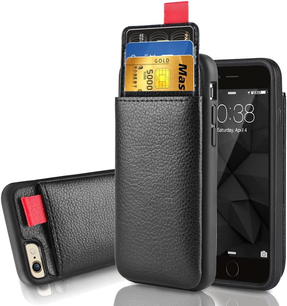 LAMEEKU iPhone 6 Wallet Case, iPhone 6s Leather Case, Shockproof Wallet Cover Leather Wallet Case with Credit Card Slot Holder, Protective Cover Compatible for Apple iPhone 6 / 6S 4.7'' - Black
