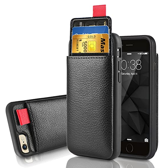 new concept ba9b9 555b3 iPhone 6 Wallet Case, iPhone 6s Leather Case, LAMEEKU Shockproof Wallet  Cover Leather Wallet Case with Credit Card Slot Holder, Protective Cover ...