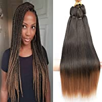 "Befunny 8Packs 20"" Crochet Hair Ombre Prestretched Braiding Hair Long Ezbraid Professional Crochet Braids Or Crochet Twist For Women Yaki Perm Straight Itchy Free Low Frame Synthetic Fiber T1B/30#"