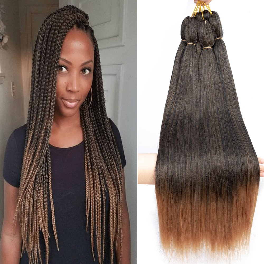 Befunny 8Packs/Lot 24Inch Crochet Hair Ombre Pre-Stretched Braiding Hair Long Professional EZ Hair Crochet Braids Or Crochet Twist For Women Itchy Free Perm Yaki Straight Low Frame Synthetic Fiber