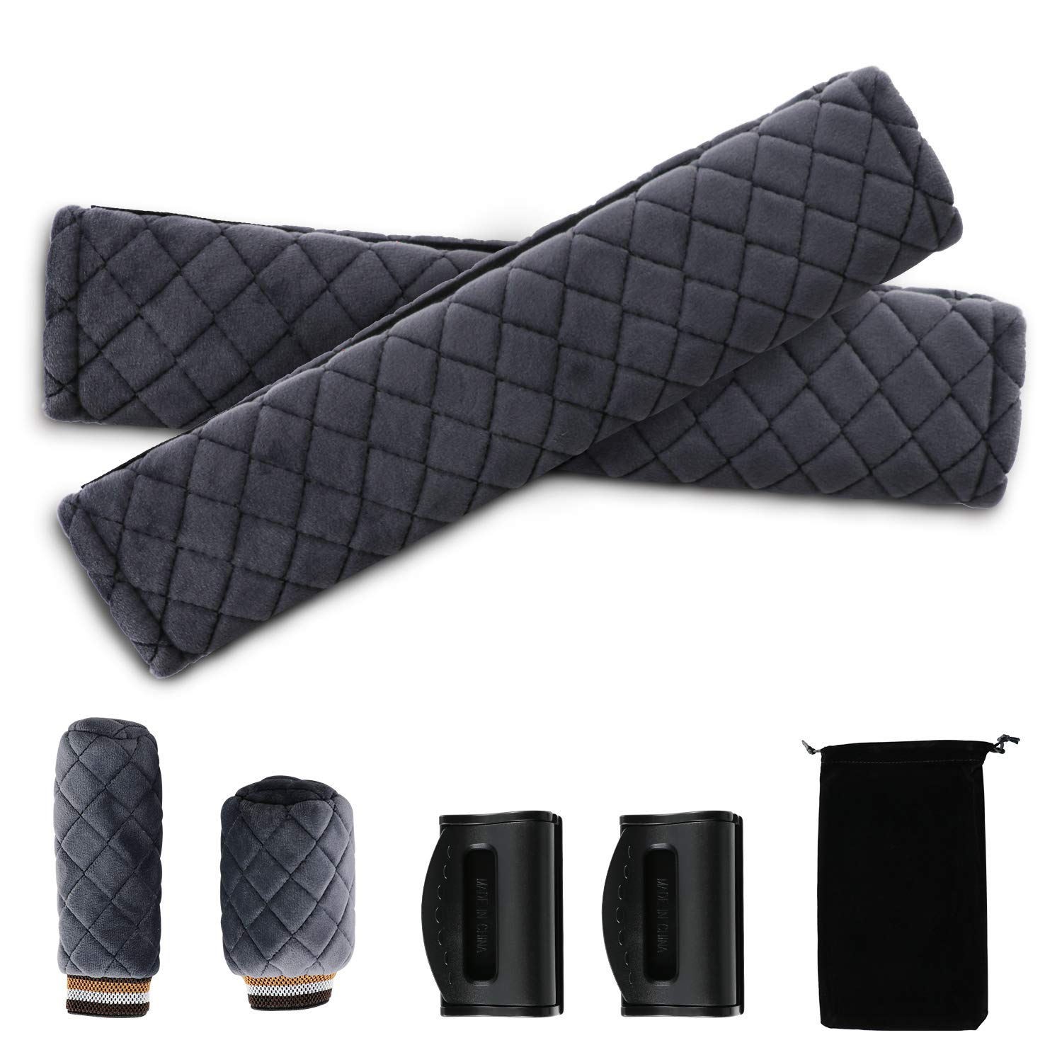 Seat Belt Pads, Feiboo Car Seat Belt Covers Kit with 2 Packs Shoulder Cover, Fixed Buckle and Anti-Slip Covers for Car Gear Shift and Handbrake