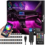 Interior Car Lights with Bluetooth App Control, Megulla 4PC Underdash Lighting Kits with Remote and Color Changing, USB…