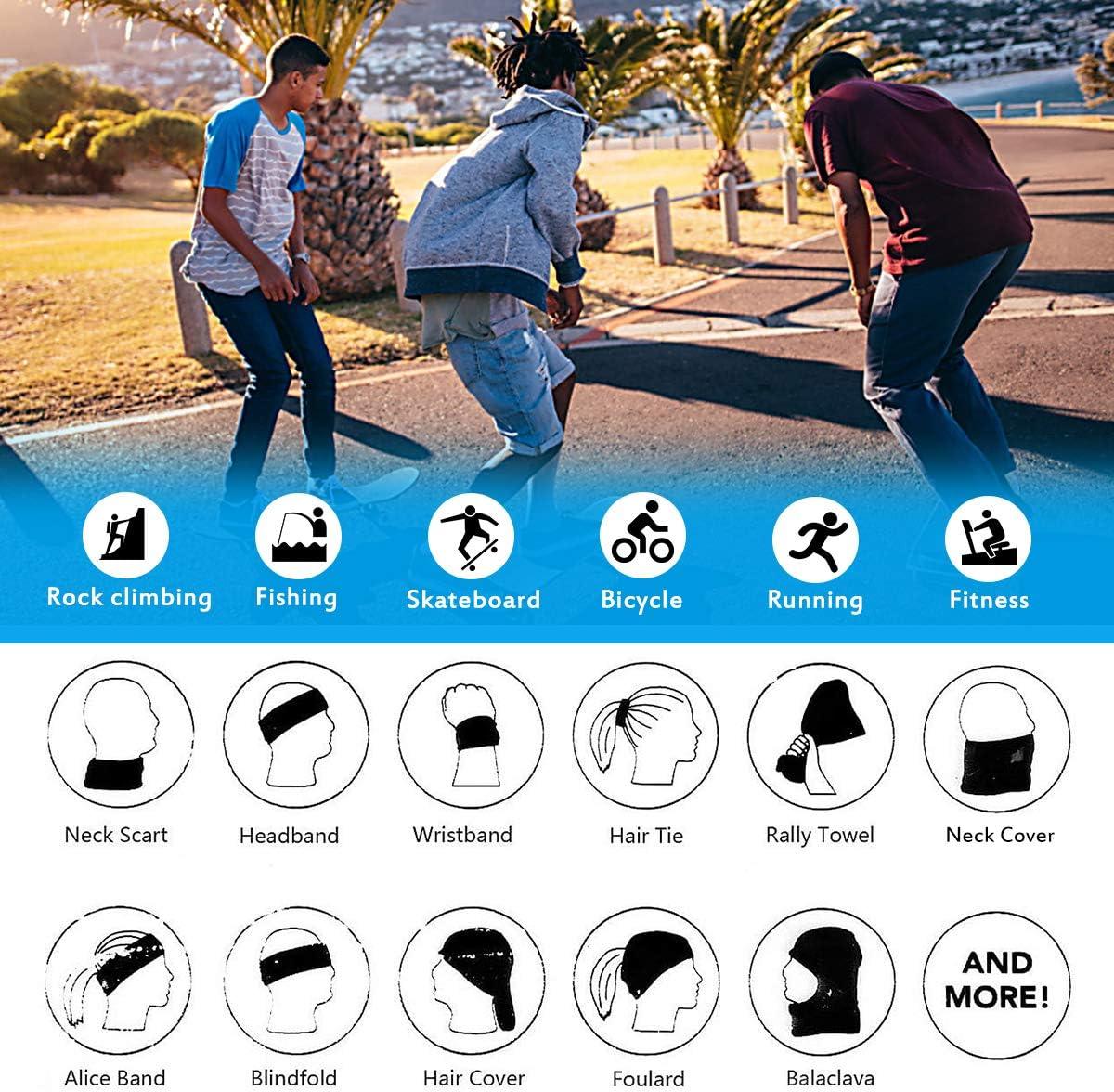 PIKAPU Multifunctional Headwear Fashion Bandana 3D Tube Scarf Outdoors Headwear Tube Elastic Headband Scarf Bandana Stretchy Headwrap Balaclava for Yoga Running Hiking Cycling