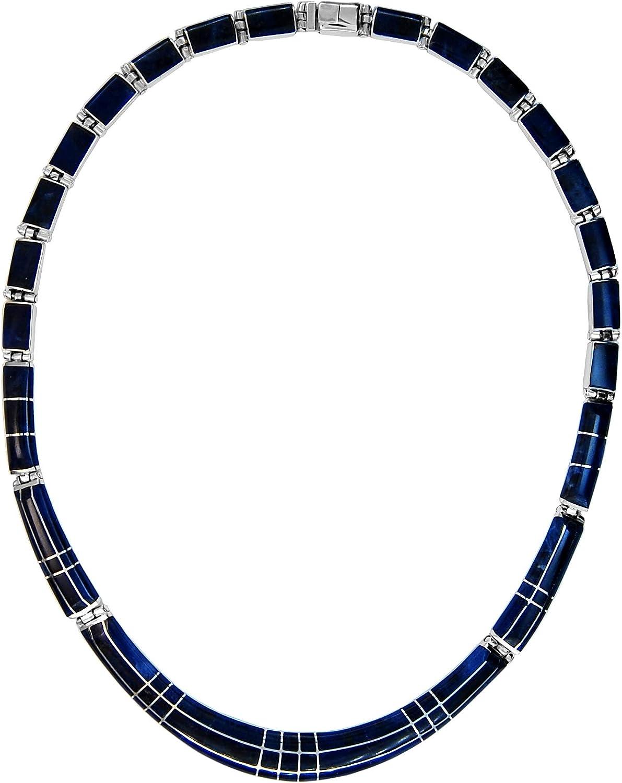 Calani Collar Artesanal de Plata 925 con incrustación de Piedra semipreciosa SODALITA en biseles, Hecho en el Pueblo de Taxco, México. Largo: 40cm. Peso: 40g