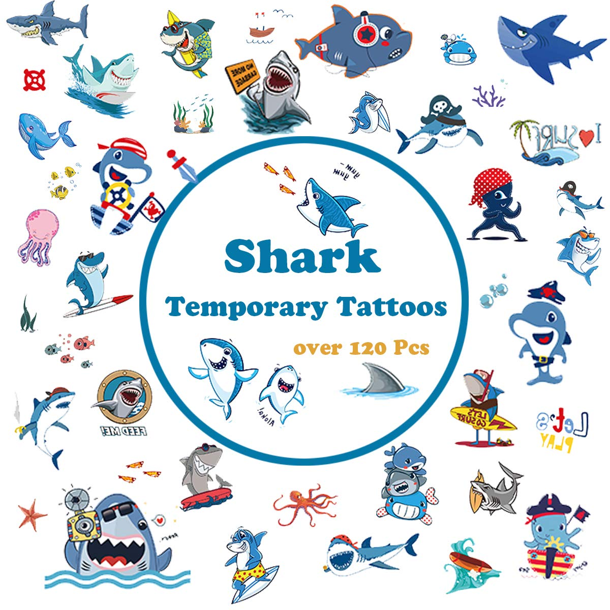 Shark Temporary Tattoos for kids, Shark Fake Tattoo for Shark Themed Party, Birthday Party Favor Supplies 120 Pcs