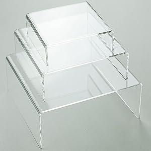 Medium Low Profile Riser 3pcs Set in Clear Acrylic by Tripar