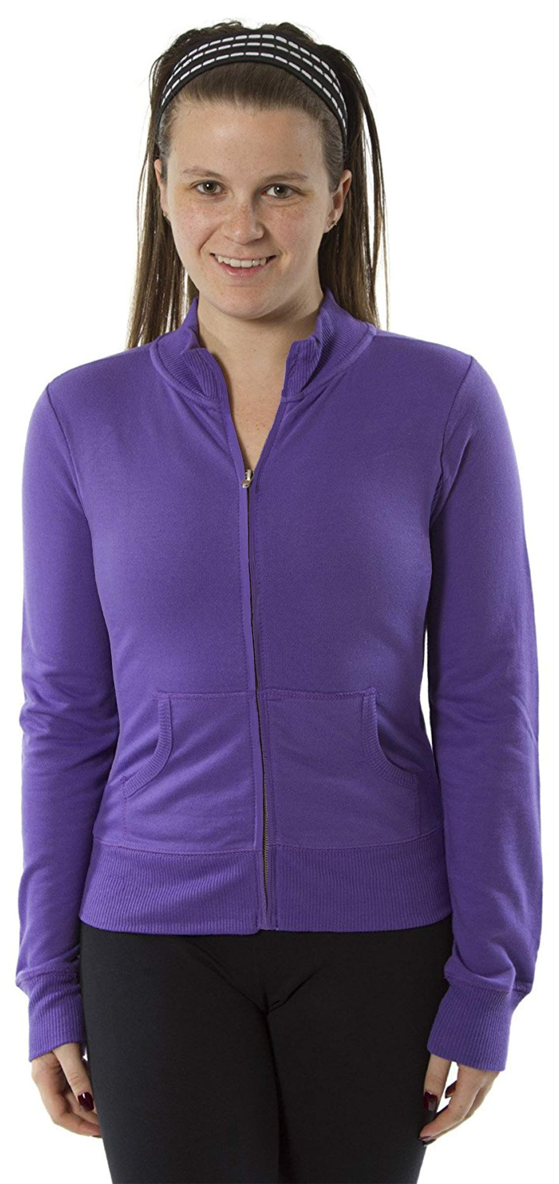 Womens Long Sleeve Mock Neck Jacket Zip up With Piping Jacket (Small, Purple)