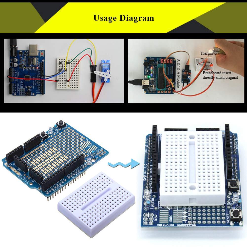 Electrely 6pcs 170 Tie Points Mini Breadboard Kit Experiment Arduino Circuit Board Prototypes Self Adhesive