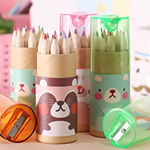 "3 Pack Cute Cartoon Bear Drawing Mini Colored Pencils with Sharpener, 3.5"" Length, 12 Count in Tube, Office School Supplies Students Children Gift"