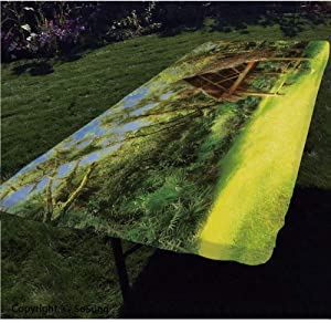 Tiki Bar Decor Polyester Fitted Tablecloth,Tiki Hut in Dreamy Fantasy Forest Tropical Island Wildlife Greenery Rectangular Elastic Edge Fitted Table Cover,Fits Rectangular Tables 96x36