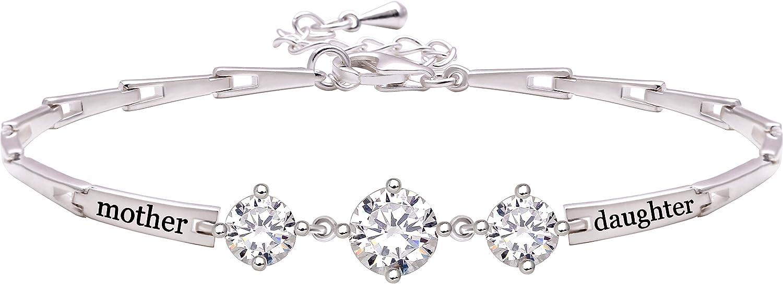 "ALOV Jewelry Sterling Silver ""mother daughter"" Cubic Zirconia Bracelet"