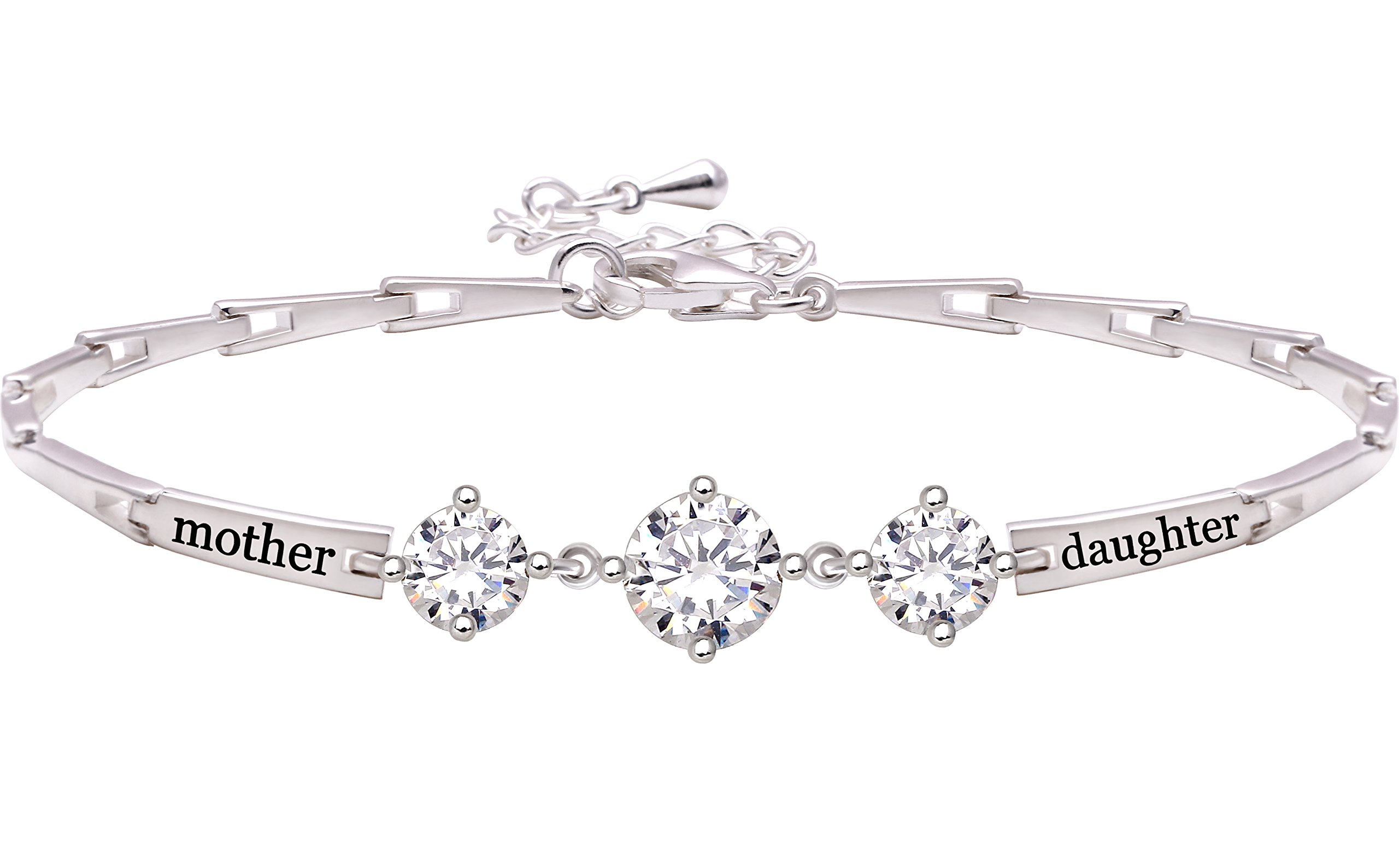 ALOV Jewelry Sterling Silver Mother Daughter Cubic Zirconia Bracelet by ALOV