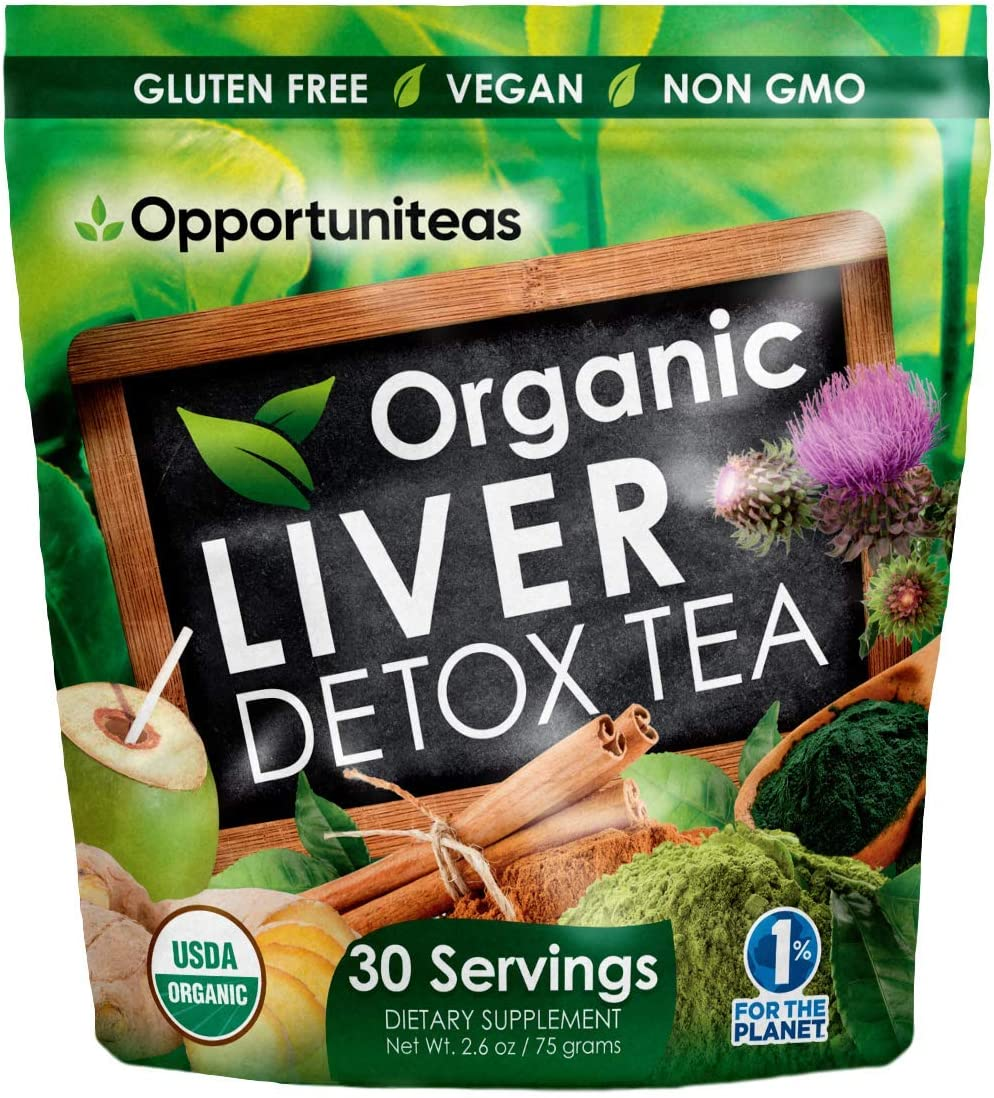 Organic Liver Detox Tea – Matcha Green Tea, Milk Thistle, Coconut Water, Spirulina, Ginger, Cinnamon – Natural Cleanse to Boost Energy Feel Better – Liver Care Support Supplement. Vegan Non GMO