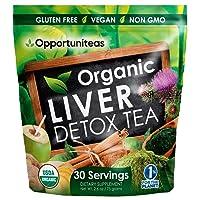 Organic Liver Detox Tea - Matcha Green Tea, Milk Thistle, Coconut Water, Spirulina...