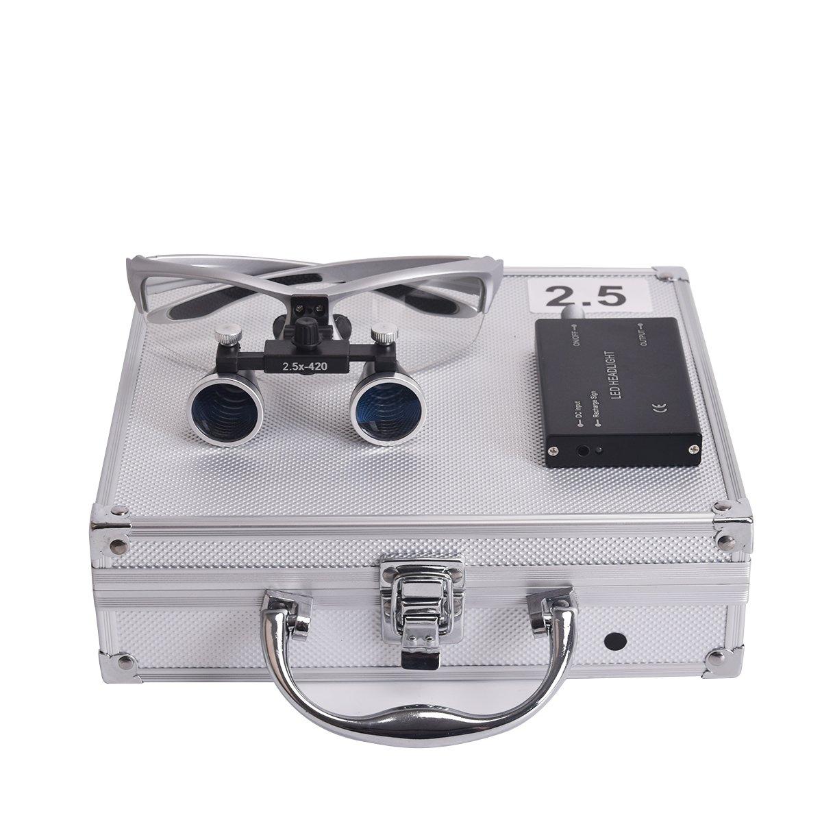 Annhua 2.5 x 420MM Dental Magnifier Surgical Binocular Loupes Headlight with Aluminum Box