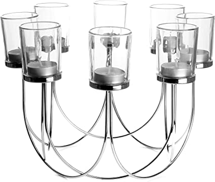 8 Glass Tea Light Holders Candle Holder Dining Table Decorations Wedding Decor Centrepiece Vintage Home Accessories M W Chrome Amazon Co Uk Kitchen Home