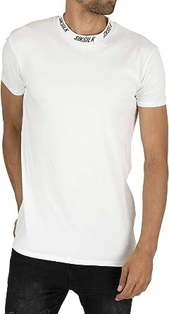 Sik Silk Hombre Camiseta con Cuello Alto y Logo, Blanco: Amazon.es: Ropa y accesorios