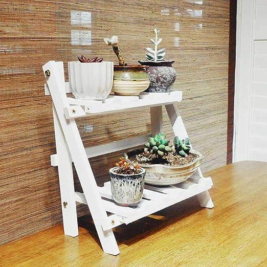 Wyi - Soporte para colgar plantas de 2 niveles, estante plegable de escalera, maceta de madera, organizador para balcón, jardín, patio, dormitorio, oficina, 35 x 17 cm (no incluye macetas), blanco: Amazon.es: Jardín