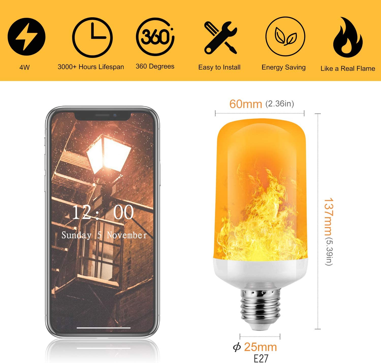 Simulated Decorative Atmosphere Lamps for New Year//Festival//Hotel//Bars//Home Decoration Flame Bulb,Funxim LED Flame Flickering Effect Fire Light New Year Bulbs Orange 2P