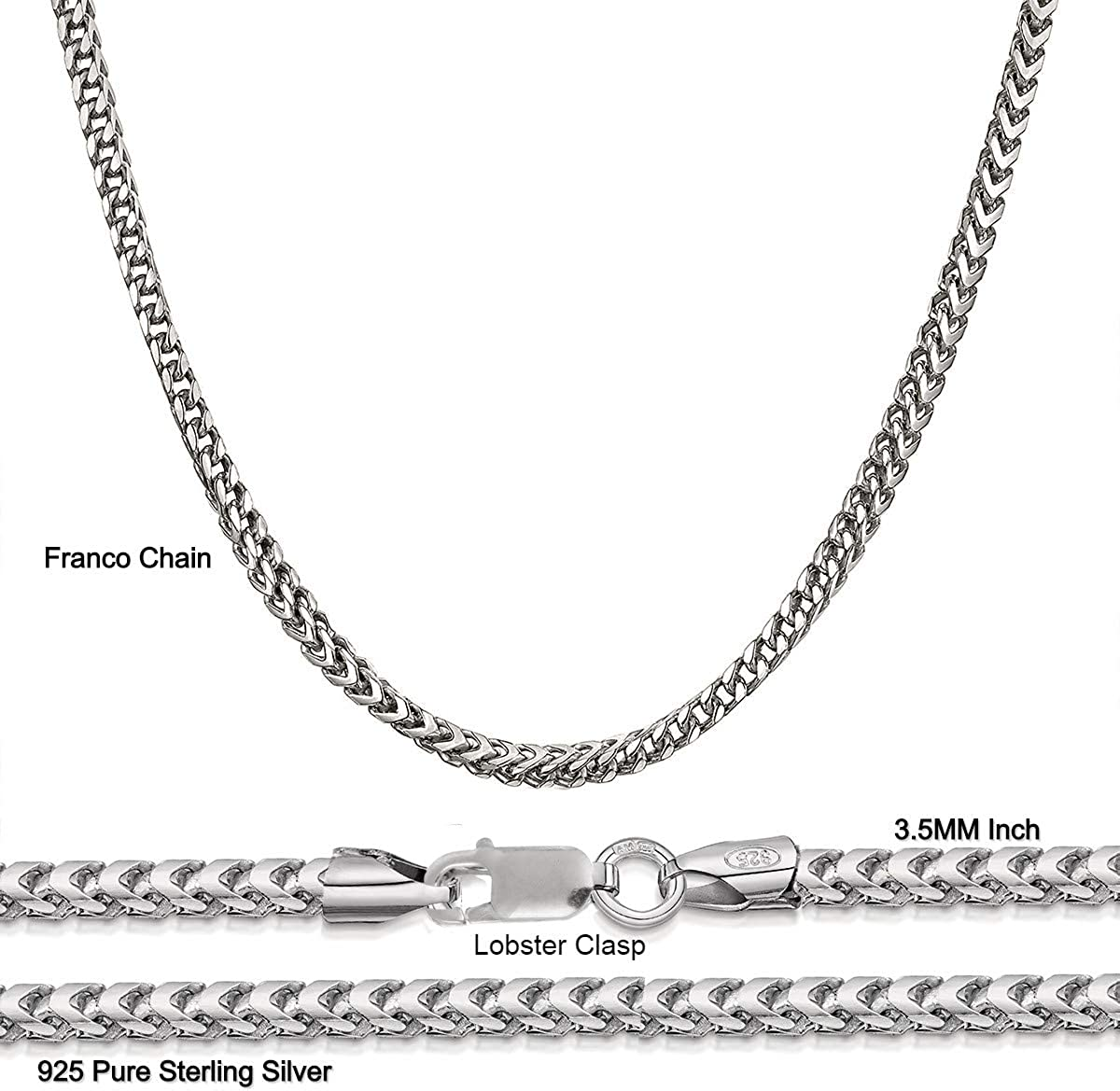 """18/"""" fabricants Standard prix de détail $227 Argent Sterling Rond 3.75 mm cou Fil Collier"""